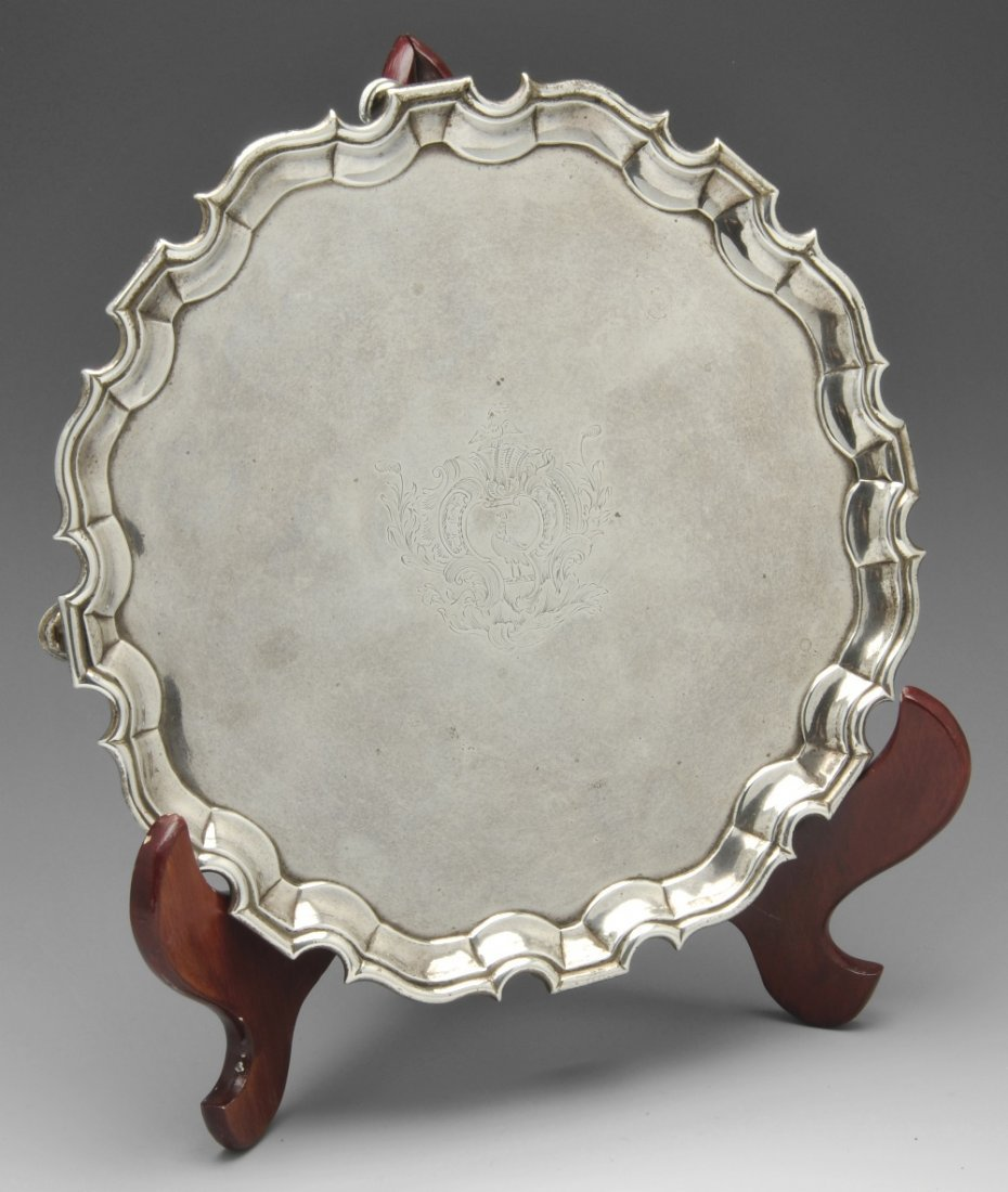 A George II silver salver by George Hindmarsh, London