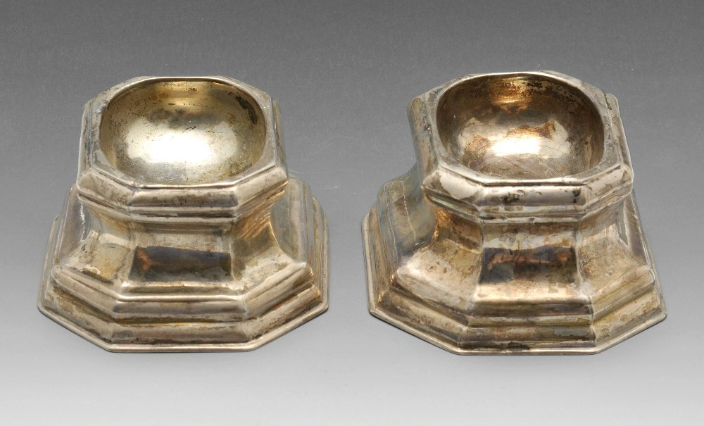 A pair of George II silver trencher salts & a small