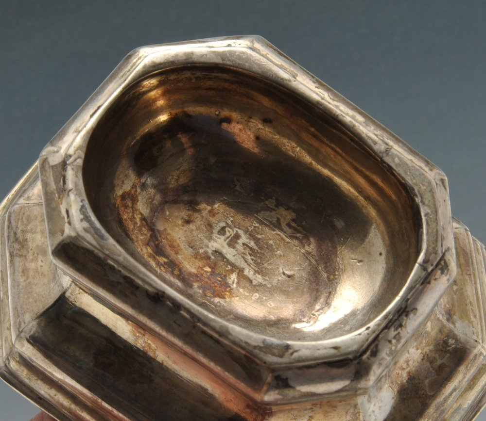 A pair of George II silver trencher salts & a small - 3