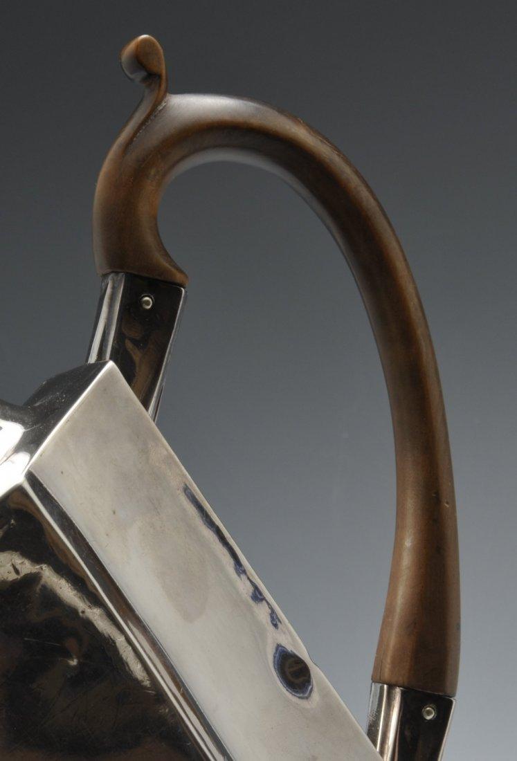 A George III silver teapot. - 5