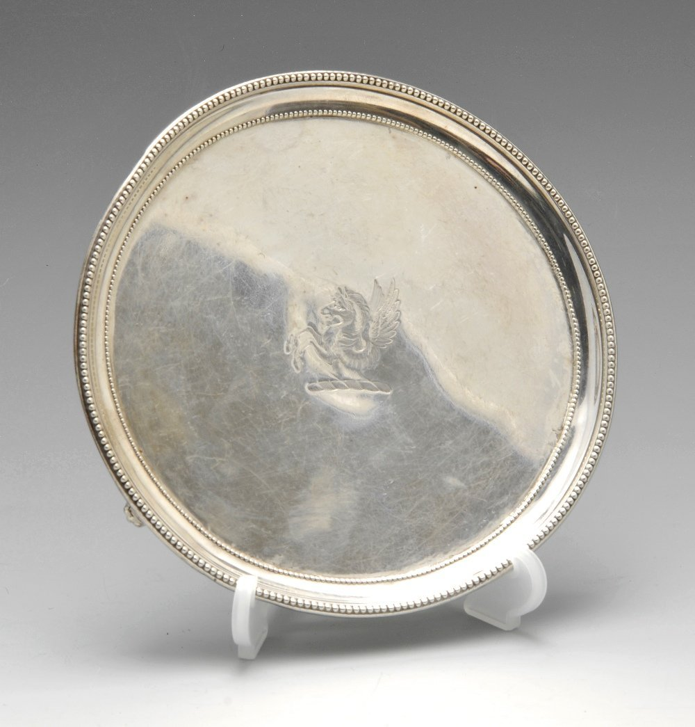 An early George III silver waiter.