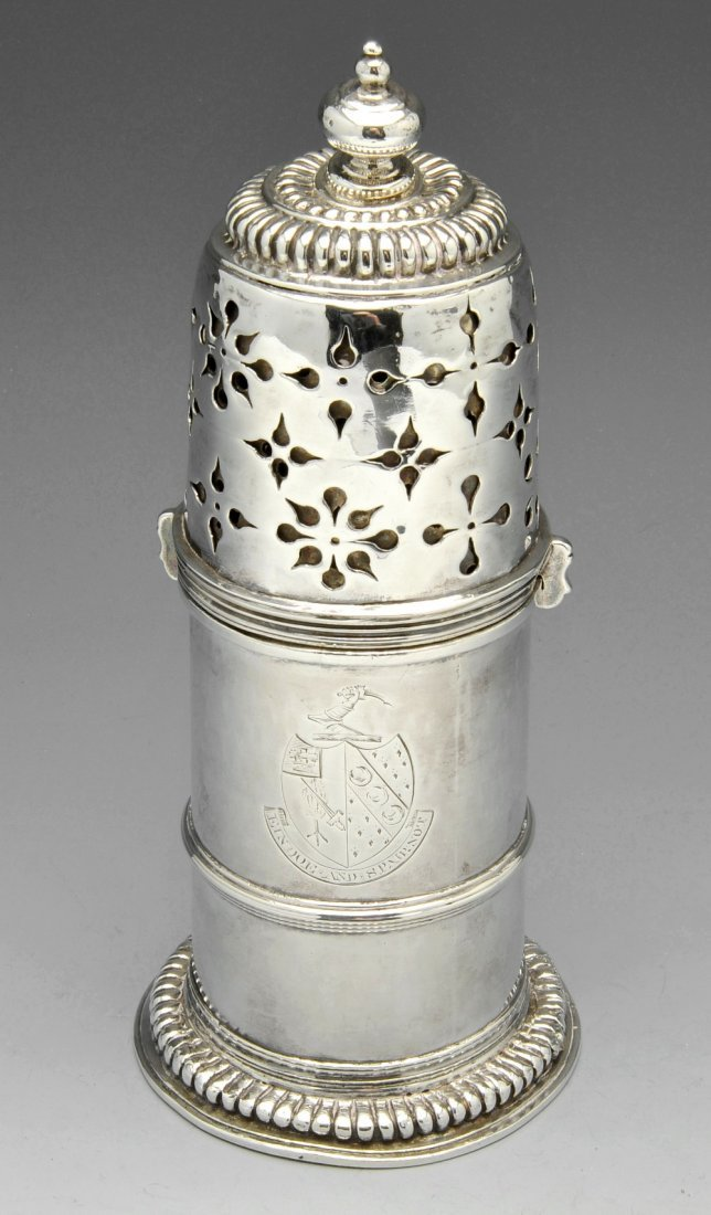 A William & Mary silver lighthouse caster.