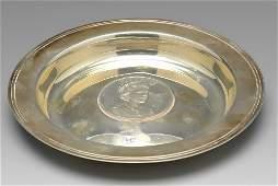 A modern commemorative silver Armada dish