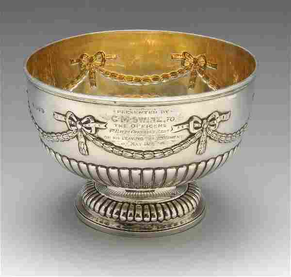 A late Victorian silver bowl with presentation