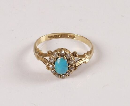 1: Edwardian 18ct gold oval turquoise and rose cut diam