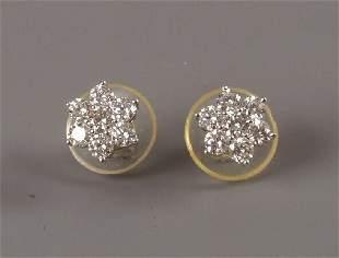 Pair of seven stone diamond daisy cluster earstuds w