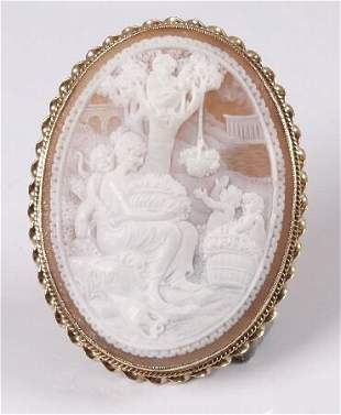 9ct gold farmed oval shell cameo brooch depicting a