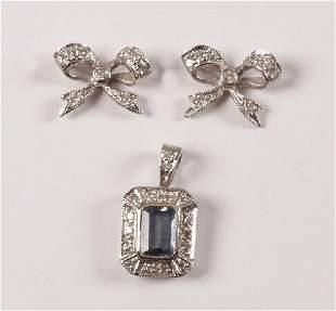 9ct white gold rectangular aquamarine and diamond p