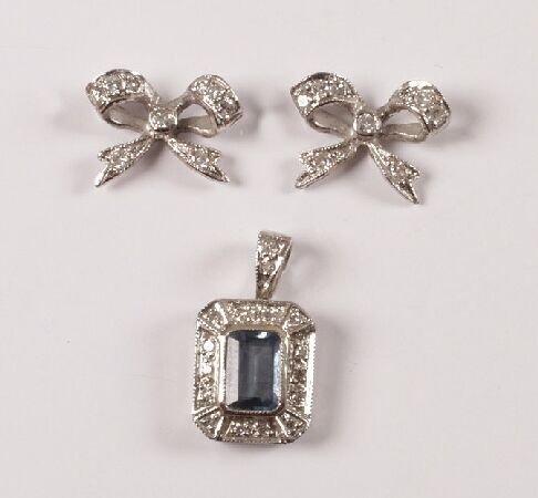 16: 9ct white gold rectangular aquamarine and diamond p