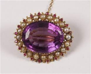 Late Victorian oval amethyst brooch with half pearl