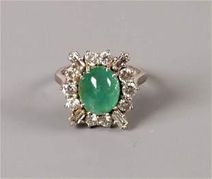 18ct white gold cabochon emerald and diamond dress