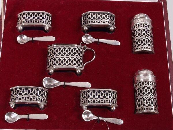 1003: Late Victorian seven piece condiment set, compris