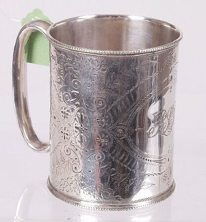 1004: Late Victorian christening mug, of cylindrical fo