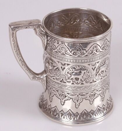 1007: Late Victorian christening mug, cast with a vario