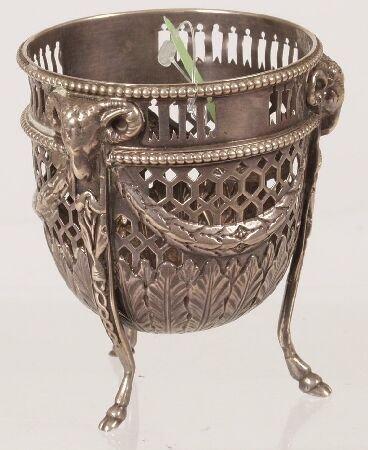 1015: George III sugar bowl, of pierced circular outlin
