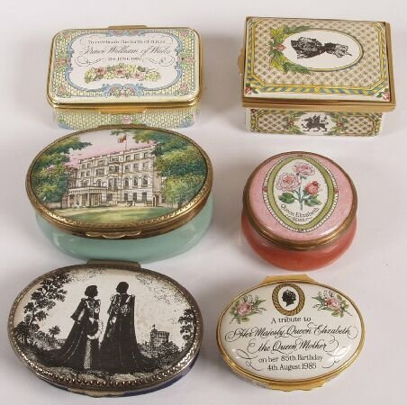 1393: Six Halcyon Day boxes of Royal Commemorative inte