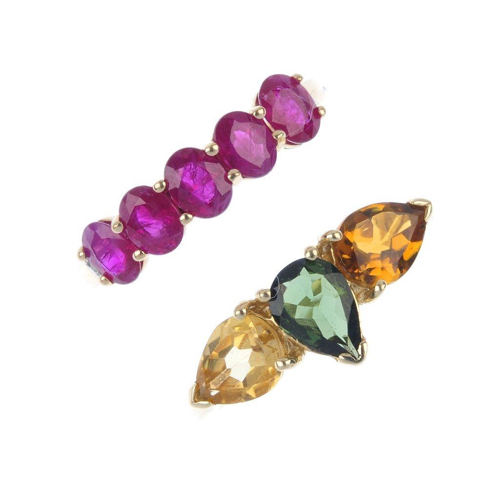 Two 9ct gold gem-set dress rings.