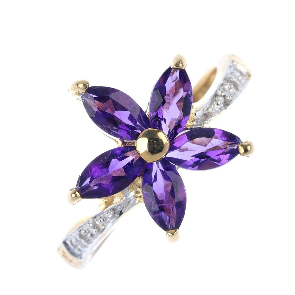 A 9ct gold amethyst and diamond floral ring.
