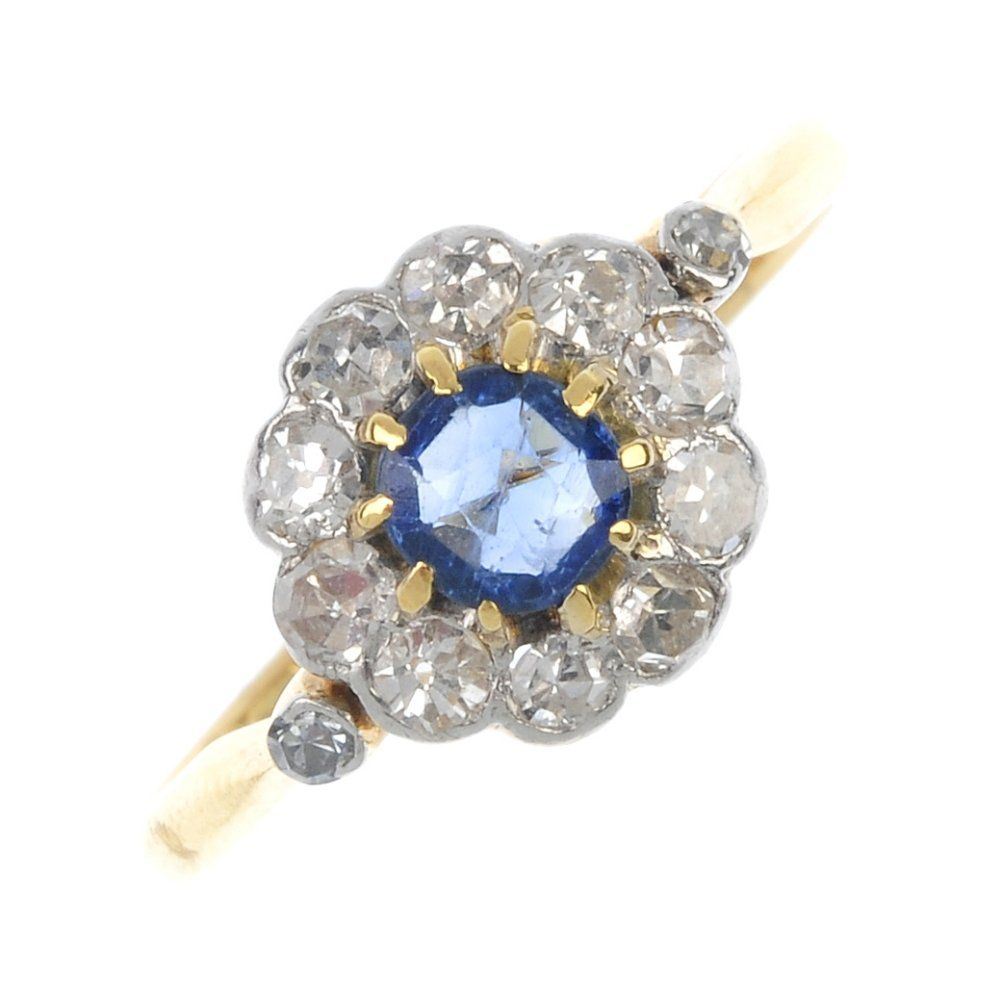 An early 20th century 18ct gold sapphire and diamond