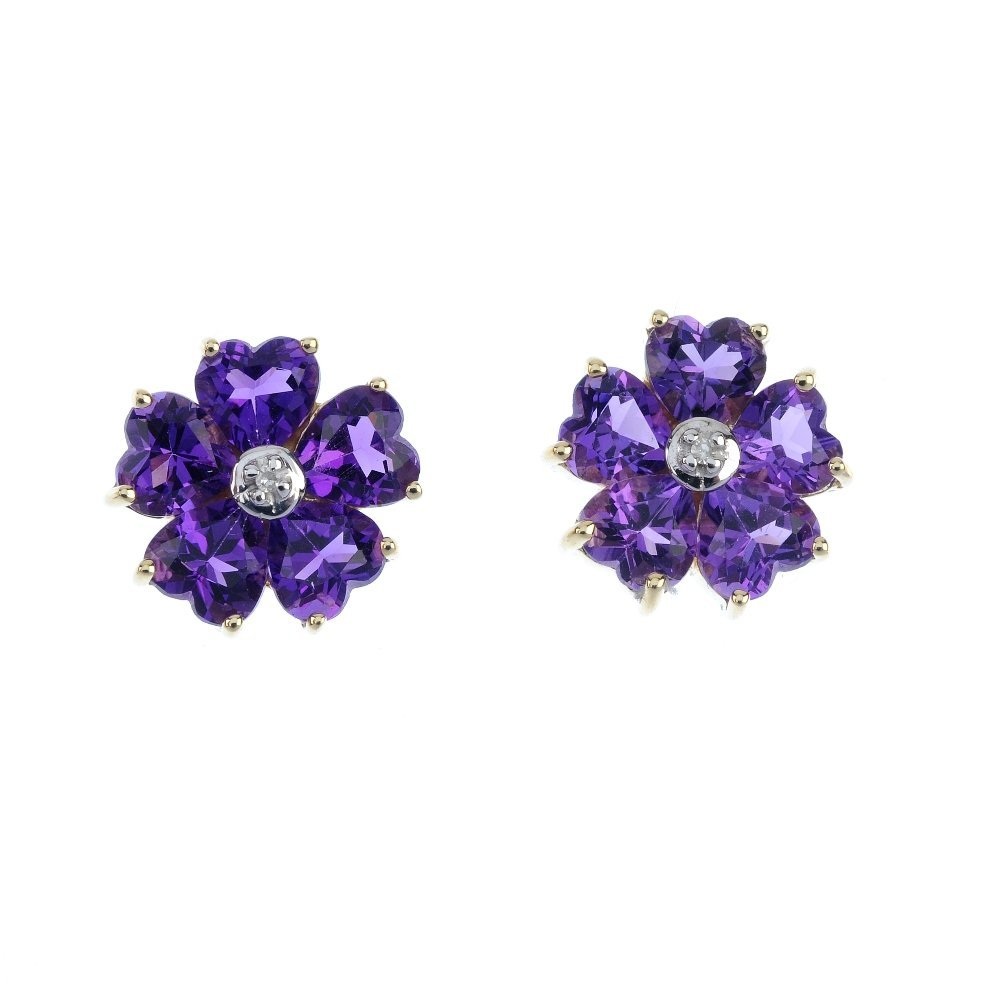 A pair of 9ct gold amethyst and diamond flower ear