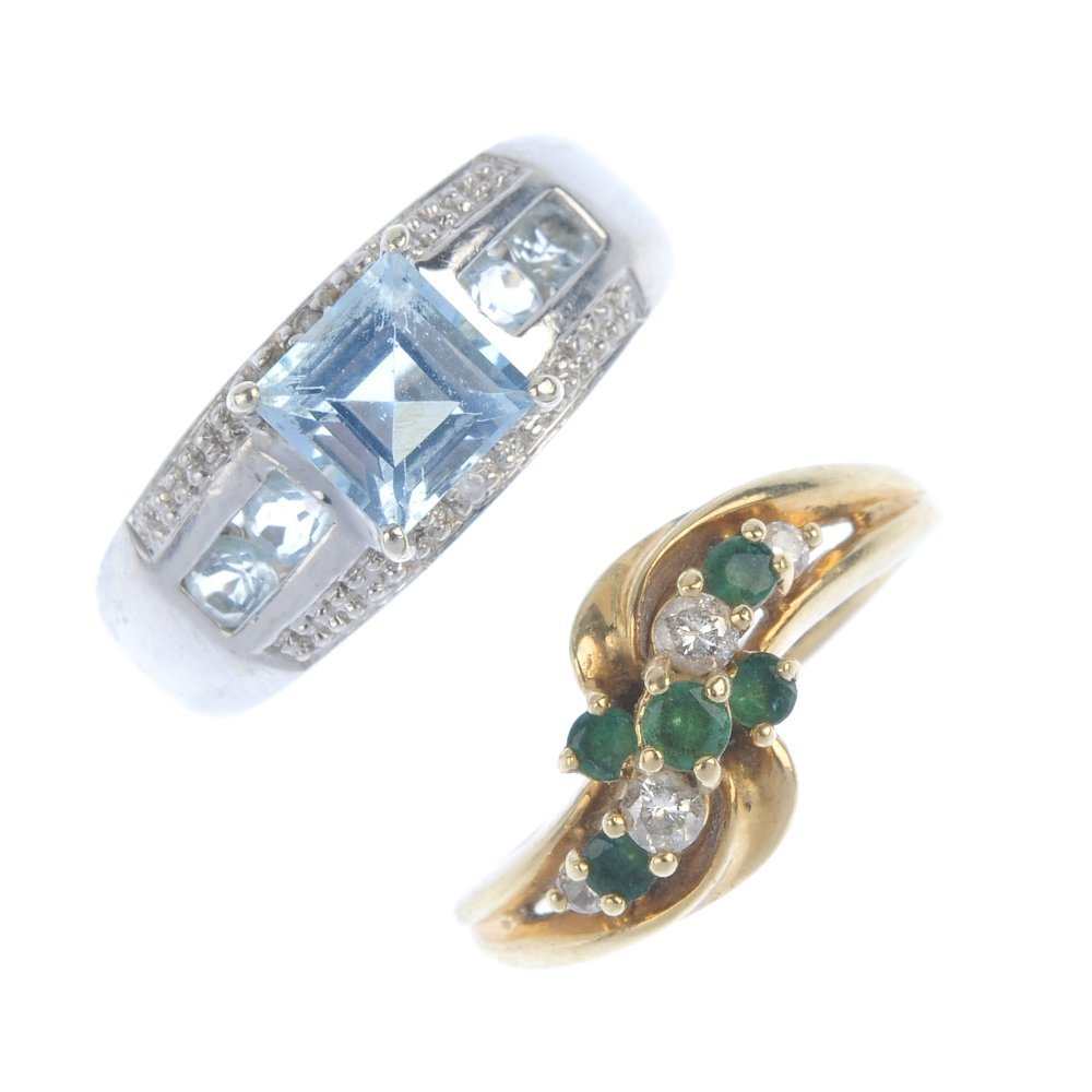 A selection of four diamond and gem-set dress rings.