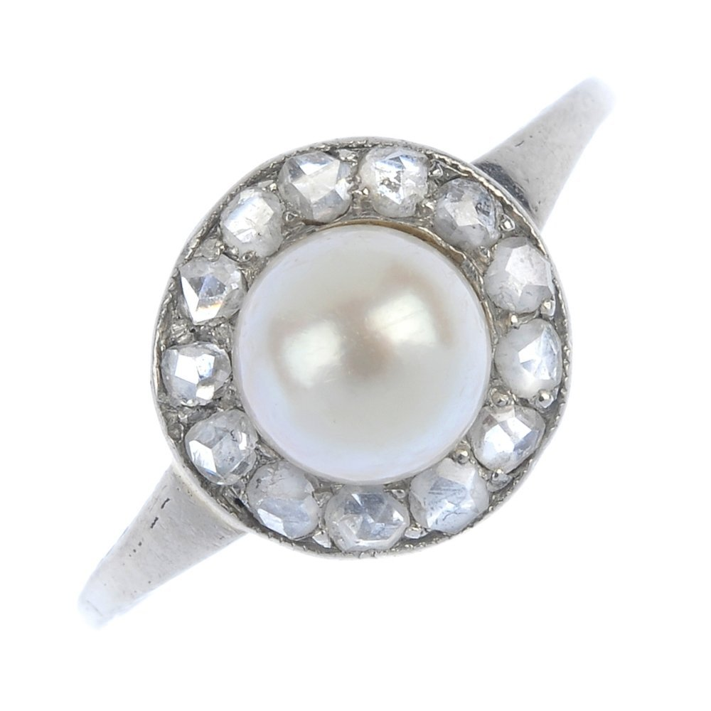 An early 20th century platinum cultured pearl and