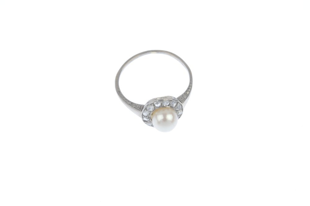 An early 20th century platinum cultured pearl and - 2