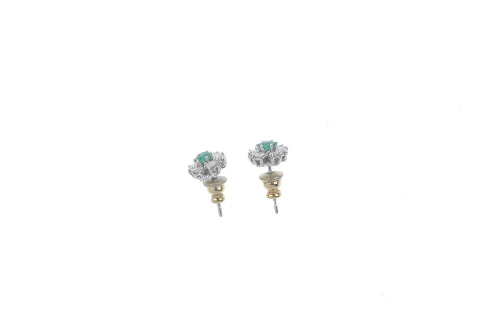 A pair of emerald and diamond ear studs. - 3