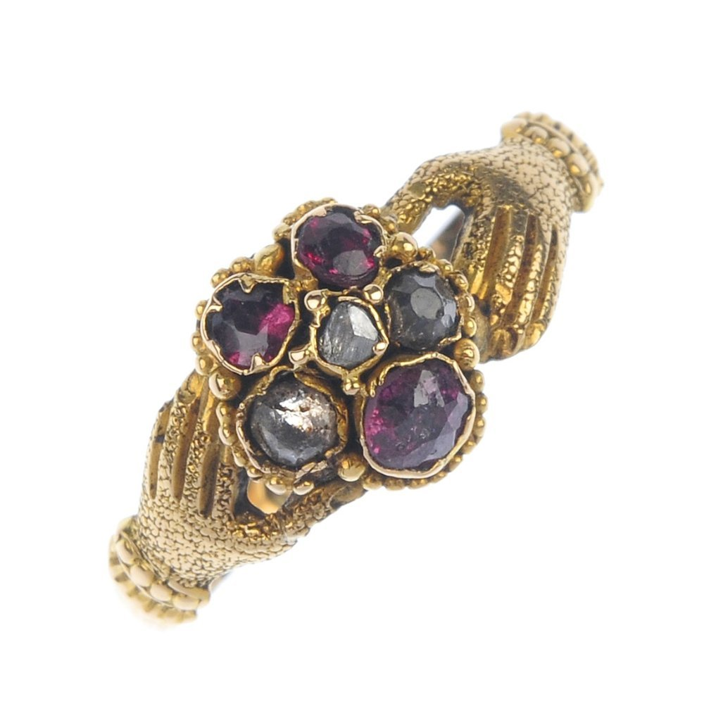 A late Victorian gold multi-gem fede ring, circa 1880.