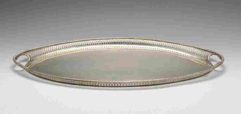 A large silver plated tray.
