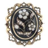 A mid Victorian gold enamel split pearl and diamond