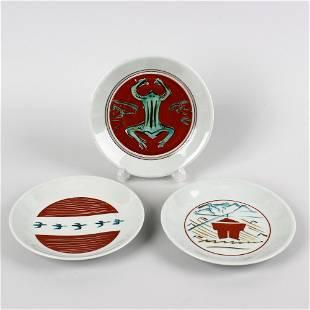 Three Bernard Leach (St. Ives pottery plates)