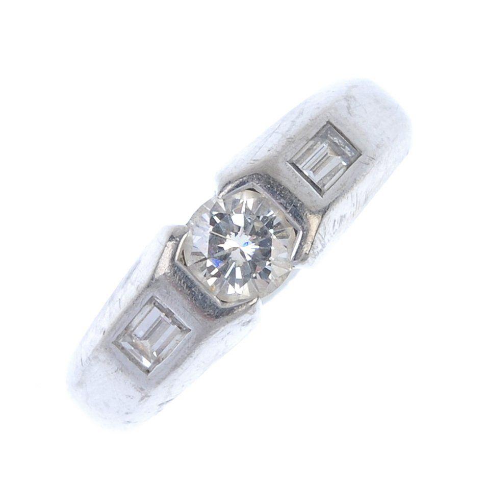 A 14ct gold diamond single-stone ring.