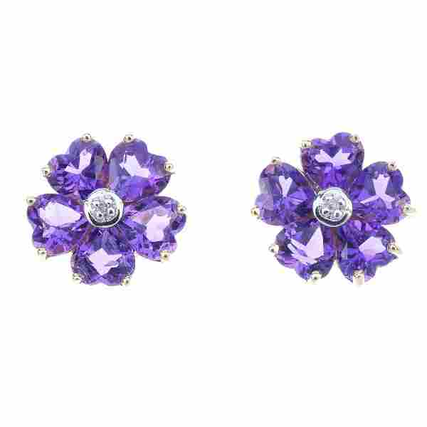 A pair of 9ct gold amethyst and diamond floral ear