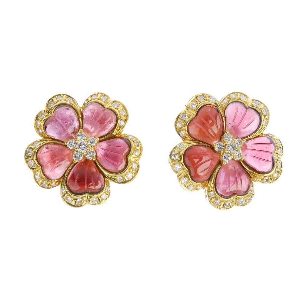 A pair of tourmaline and diamond floral ear clips.