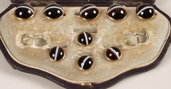 10: Set of dress studs and cufflinks set banded agate (