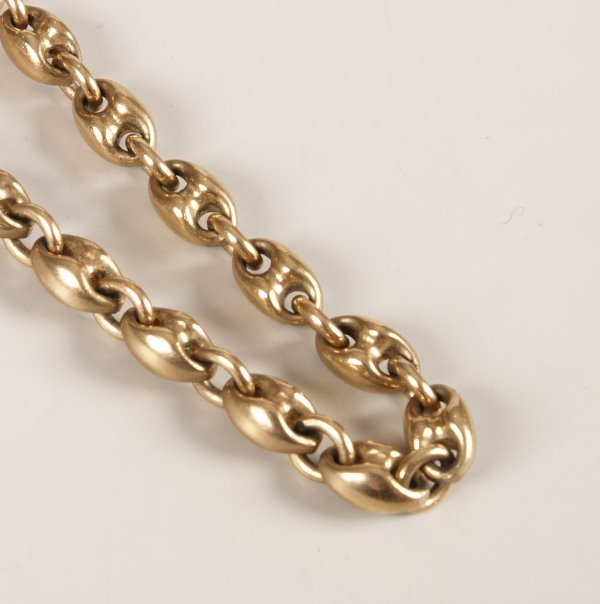15: 9ct anchor link chain. Length - 22 inches/ 56 cms,