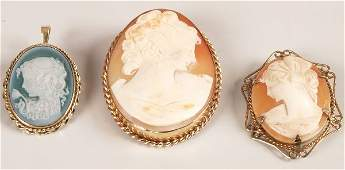 341: Three items of 9ct gold set cameo jewellery to inc