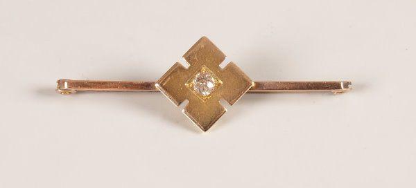 511: 15ct gold single stone old European cut diamond ba