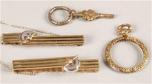 852: Four items of jewellery to include two 9ct bi-colo