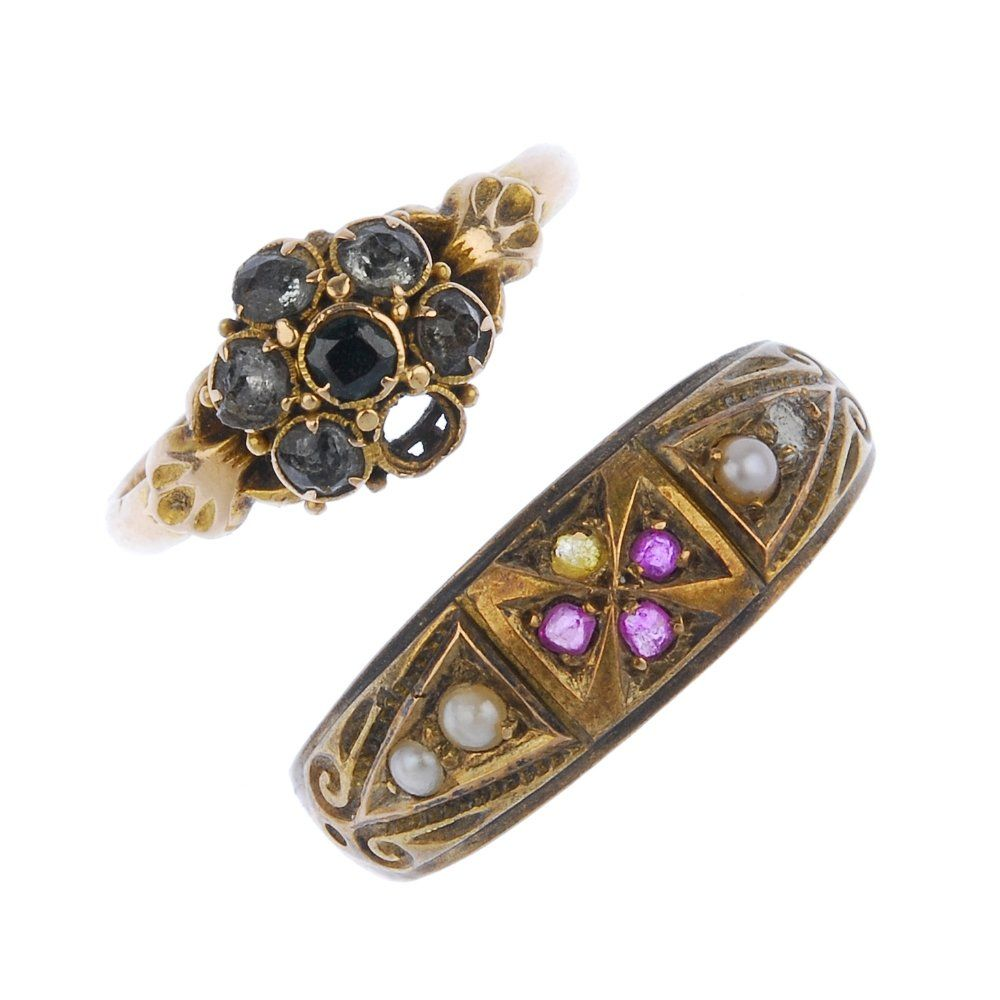 Two mid to late Victorian 15ct gold gem-set rings.