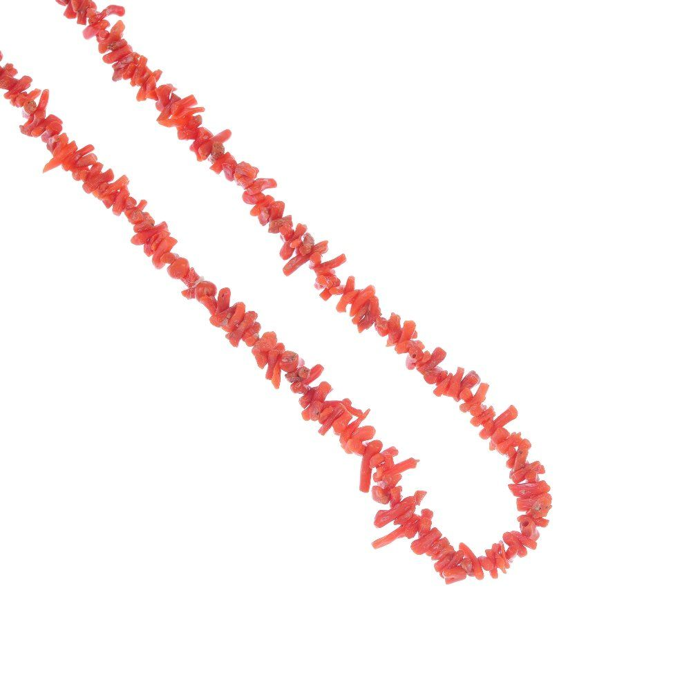 A selection of coral jewellery.