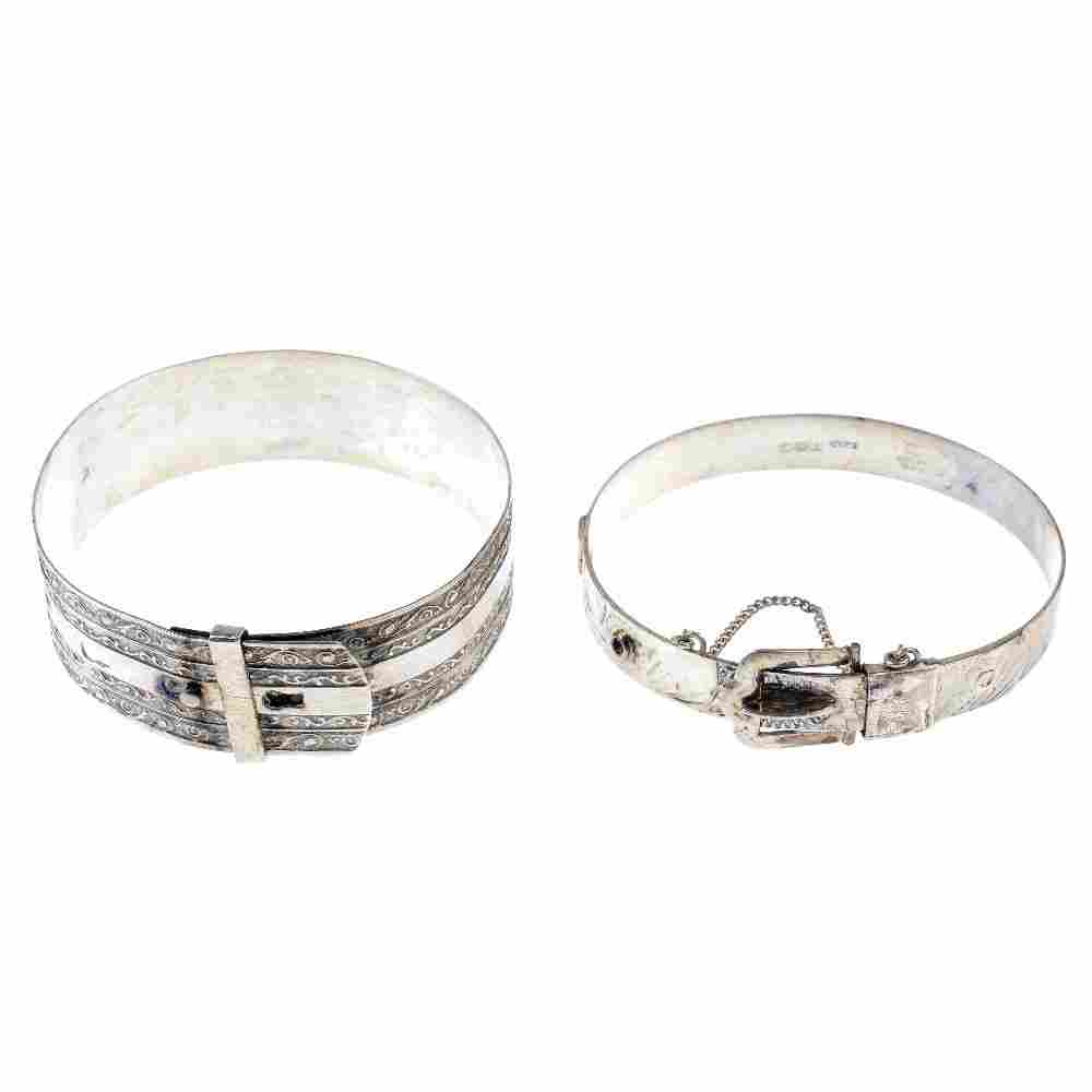 A selection of silver and white metal bangles.