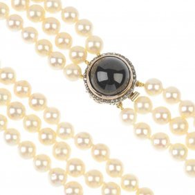 A Cultured Pearl Three-row Necklace, With Garnet And