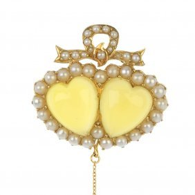 An Early 20th Century Gold Chrysoberyl And Split Pearl