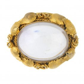 A Late 19th Century Gold Rock Crystal Brooch.
