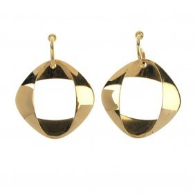 Georg Jensen - A Pair Of 18ct Gold Ear Pendants,