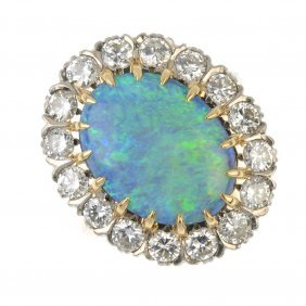 An Opal Doublet And Diamond Cluster Ring.