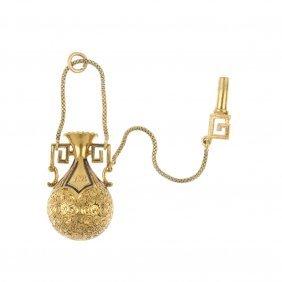 A Mid Victorian 18ct Gold Enamel Amphora Pendant, Circa