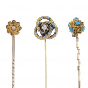 A Collection Of Three Late 19th Century Gold Stickpins.